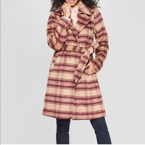 Women'a plaid wrap burgundy coat .